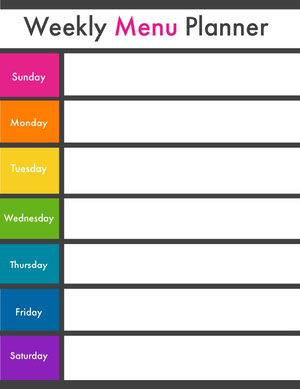 Rainbow Colored Weekly Meal Planner Weekly Menu