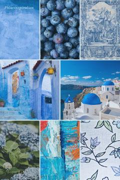 blue Pinterest color mood board  Blue