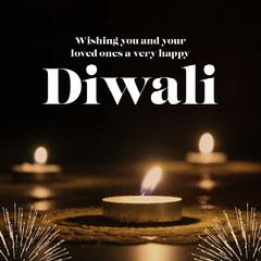 Modern Elegant Bright Happy Diwali Festival of Lights Greeting Festival