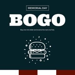 Blue and White Bogo Restaurant Sale Memorial Day Ad Instagram Post Bogo