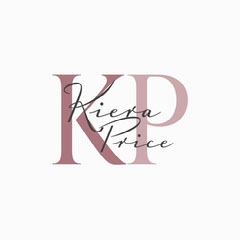 Pink Elegant Calligraphy and Initials Logo Typography