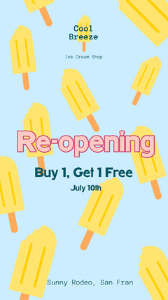 Blue Yellow Popsicle Instagram Story  Ice Cream Social Flyer