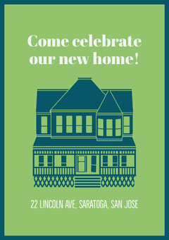 Blue and Green Housewarming Party Invitation Celebration