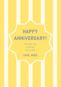 Yellow Striped Happy Marriage Anniversary Card with Star Couple