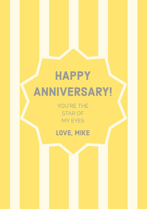 Yellow Striped Happy Marriage Anniversary Card with Star Biglietto di anniversario