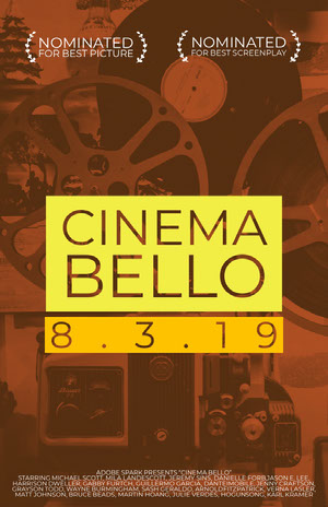 Retro Yellow and Brown Movie Poster with Camera Filmposter