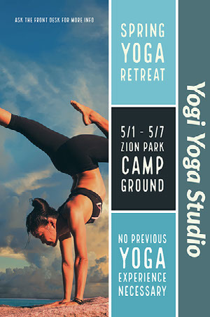 Blue Toned Yoga Camp Poster Yoga Posters