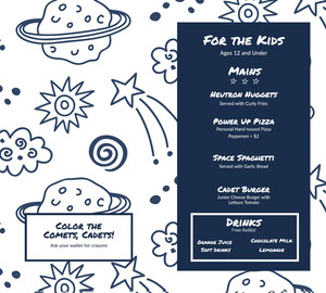 Blue and White Space Themed Kids Menu Kids Menu