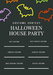 Black and Colorful Halloween Bat House Party Costume Card Festa di Halloween