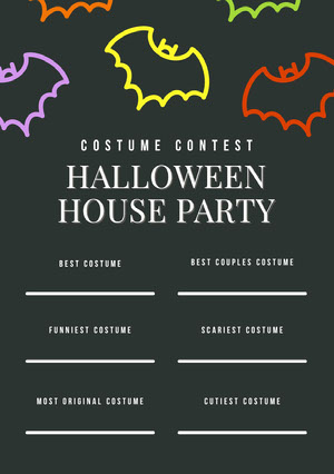 Black and Colorful Halloween Bat House Party Costume Card Halloween Party