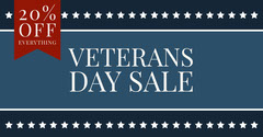 Blue, White and Red Veterans Day Sale Facebook Banner Holiday Sale