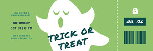 Green White and Blue Ghost Trick Or Treat Halloween Party Raffle Ticket Boleto de sorteo