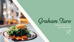Mint and White Diagonal Line Gourmet Food Photo Catering Service Business Card Catering