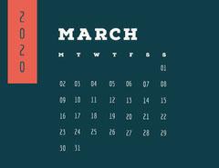 Black and White Calendar Card Spring