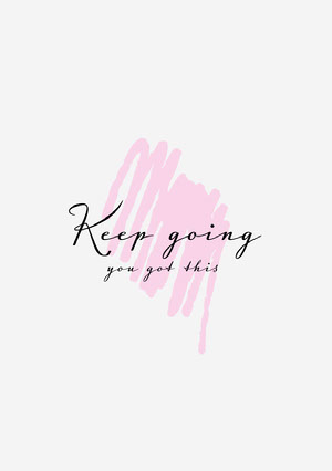 Pink Strokes Keep Going Calligraphy Minimalistic Motivation Card Motiverende poster