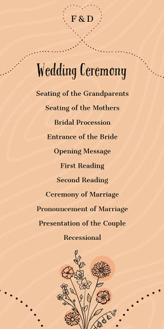Beige Rustic Floral Heart Wedding Program Heart