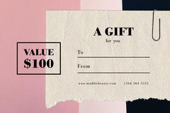 pink black cream paper gift voucher card  Giveaway