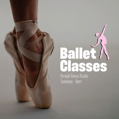 White and Pink Stick Figure Ballet Class Instagram Square with Feet of Ballerina Dance Flyers
