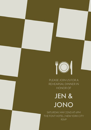 Brown Modern Geometric Rehearsal Dinner Invitation Card Rehearsal Invitation