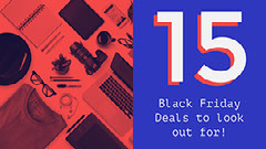 Red and Blue Black Friday Deal List Blog Banner Header Black And White