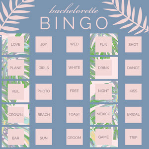 Pink and Blue Bachelorette Bingo Card with Leaves ビンゴカード