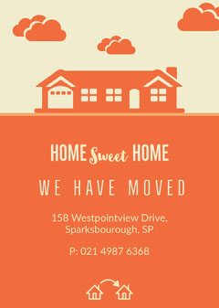 Orange and White Moving Card Sweet Home