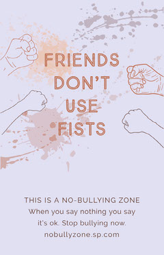 friends dont use fists anti bullying poster Awareness