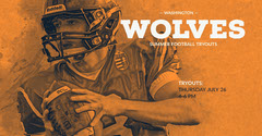 Orange and White Monochrome Football Tryout Event Facebook Banner Football