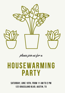Green Illustrated Housewarming Party Invitation Card with Houseplants Housewarming Invitation