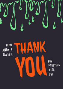 Green Slime Halloween Party Thank You Card Scary
