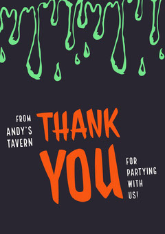 Halloween Slime Party Thank You Halloween Party Thank you Card