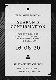 Black and White, Minimalistic Confirmation Invitation Card Christianity