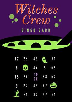 Green, Purple and Black, Halloween Party Bingo Card Halloween Party Bingo Card