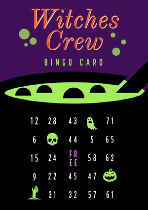 Witches Crew Halloween Party Bingo  Bingokort