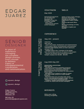 Green and Pink Senior Designer Resume CV professionnel