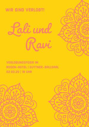 yellow and pink henna inspired wedding announcements  Einladung zur Verlobung