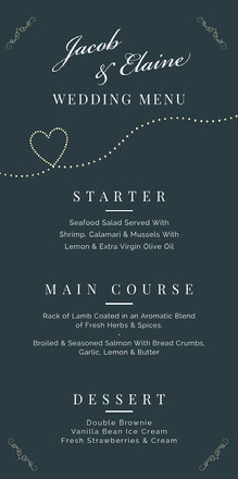 Navy Heart Elegant Calligraphy Wedding Menu Menu bruiloft