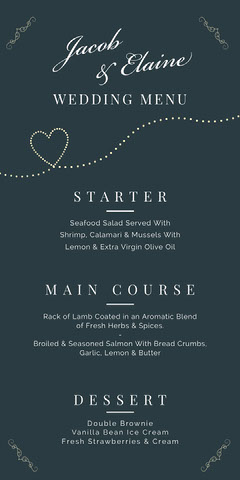 navy heart wedding menu Heart