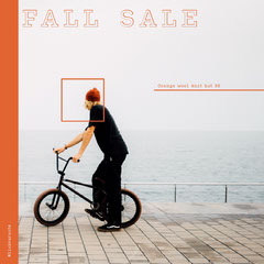 Clothing Store Instagram Square Ad with Man with Bicycle Bike
