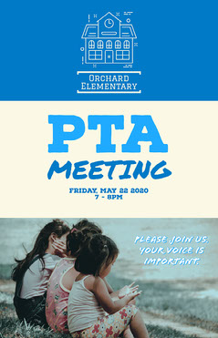 blue white PTA Meeting Poster Teacher