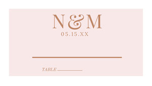 Brown Elegant Wedding Table Place Card Tarjetas para mesas de invitados