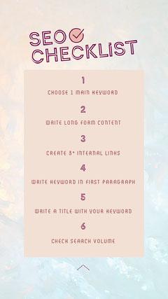 Pink SEO Checklist Instagram Story  Marketing