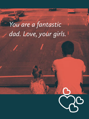 Dark Blue and Red Fathers Day Card with Father and Daughter in City Father's Day Messages