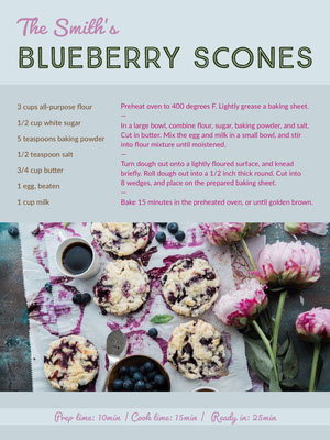 Blue Blueberry Scones Recipe Card 조리법 카드