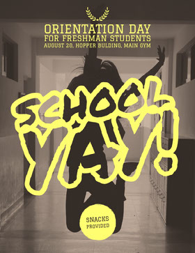 Brown and Yellow Orientation Day Flyer with Happy Student Jumping Flyer