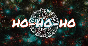 Christmas Facebook Social Post Graphic with Wreath and Ornaments Christmas Facebook Cover