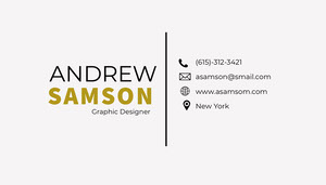 Gold and White Graphic Designer Business Card Tarjeta de visita