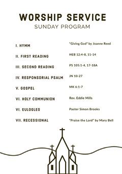 Black and White Illustrated Sunday Church Program Flyer Christianity