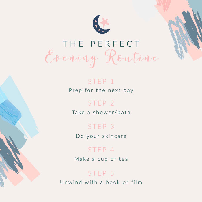 Pastel Pink and Blue The Perfect Evening Routine Steps Instagram Square Good Night Messages