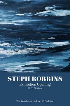 blue navy artist exhibition gallery opening postcard portrait  Exhibition